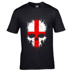 Premium Dripping Skull St Georges Cross Flag Novelty Halloween Design Black t-shirt tshirt top